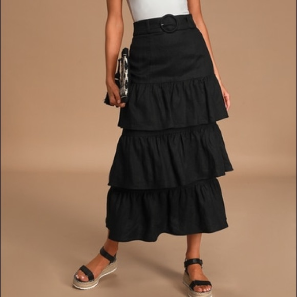 Capulet Paula Linen Tiered Belted Midi Skirt Black Size Small NWT